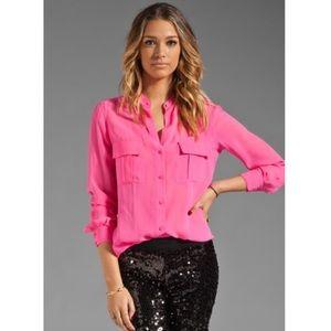 BCBGMAXAZRIA Pink Anderson Pocket Blouse